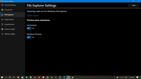 Windows 10 Powertoys File Explorer settings