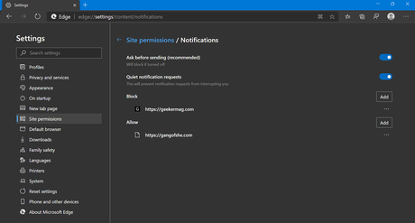 How to Use Quiet Notification Requests Feature in Microsoft Edge