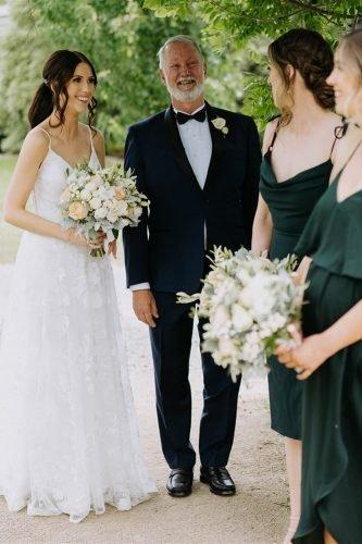 yarra valley elegant vineyard wedding ceremony bride with father and bridesmaids rick liston