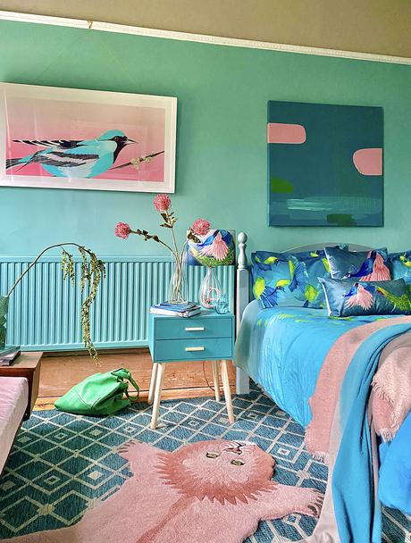 Colourful bedroom decor - blue, pink and green color scheme inspiration