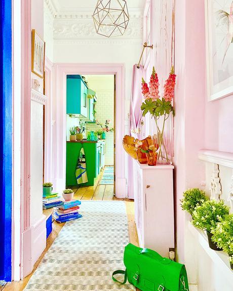 Blush pink hallway