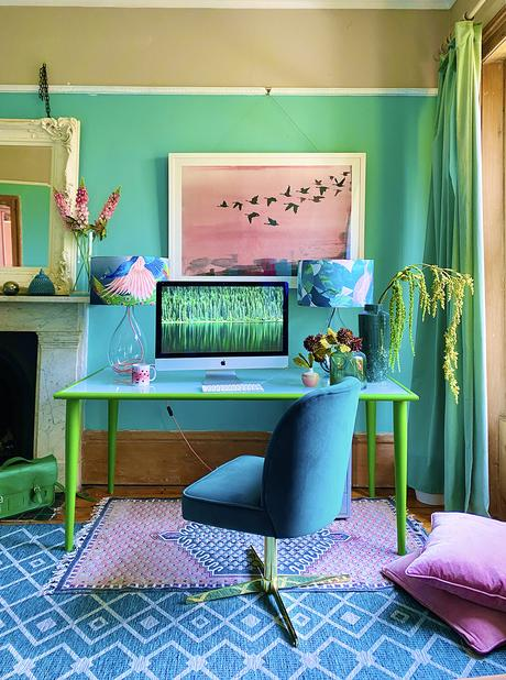 Green and blue colourful home office decor