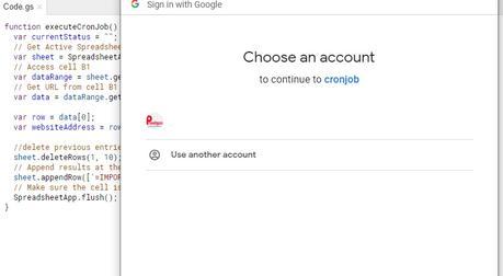 Create a CRON Job with Google Apps Spreadsheet Script