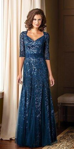 mother of the bride dresses long with three quote sleeves sequins navy jade couture