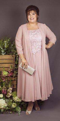 mother of the bride dresses plus size with cape pink fall winter curvy chic