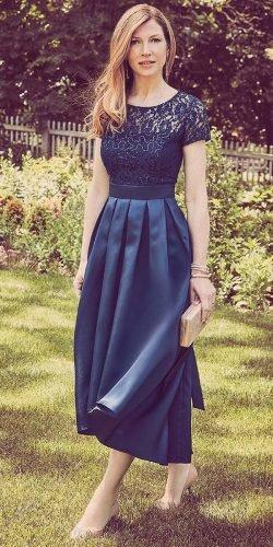 mother of the bride dresses tea length with cape sleeves navy davidsbridal