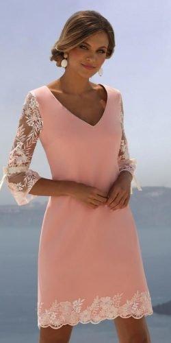mother of the bride dresses knee length v neckline with sleeves summer spring linea raffaelli