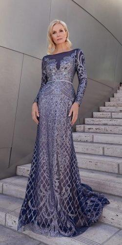 mother of the bride dresses long with sleeves navy sequins olegcassiniau