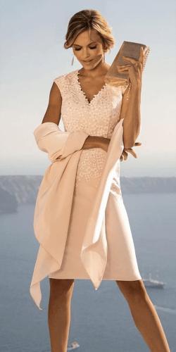 mother of the bride dresses v neckline summer knee length light linea raffaelli