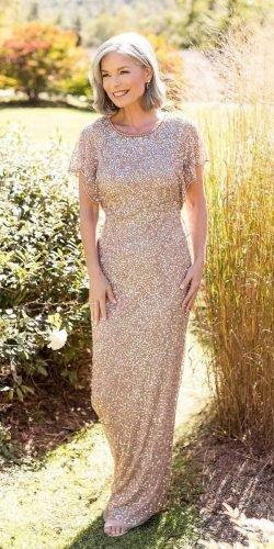 mother of the bride dresses long sequins with cape sleeves brian leahy