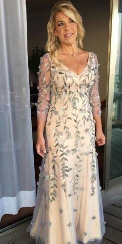 mother of the bride dresses long maxi dresse with sleeves floral appliques vestidosoficial