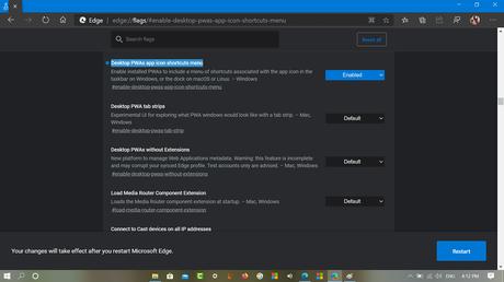Desktop PWAs app icon shortcuts menu in microsoft edge