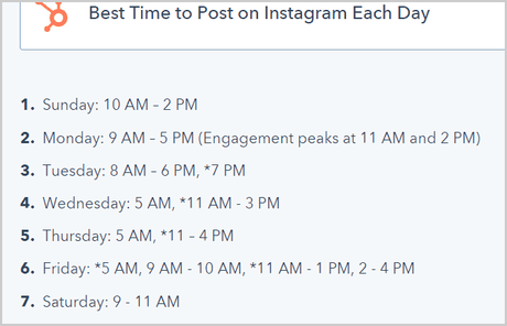 best time to post on Instagram each day