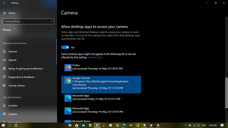 Allow desktop apps to access your camera in windows 10 privacy settings