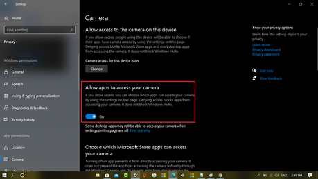 Allow apps to access your camera in windows 10 privacy settings