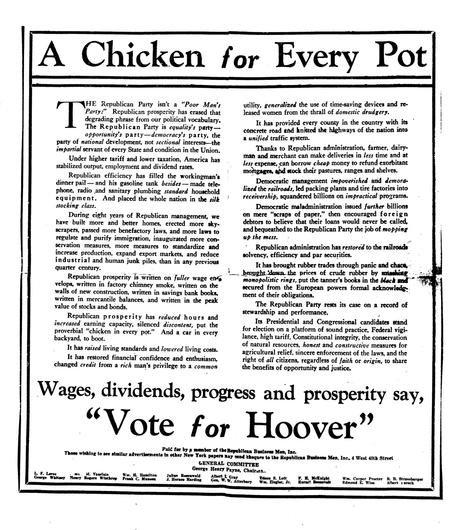 Political Ad for Herbert Hoover called