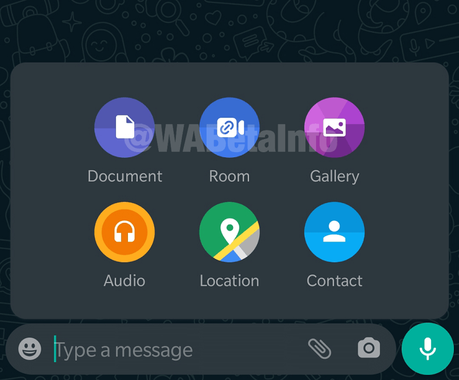 rooms shortcut in whatsapp chat sheet