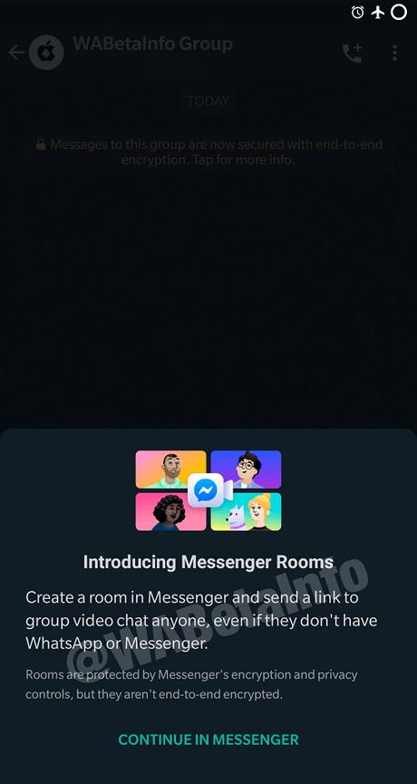 whatsapp introducing messenger rooms