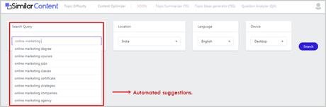 SimilarContent User Interface