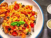 Homemade Tagliatelle with Fresh Tomato Olive Sauce