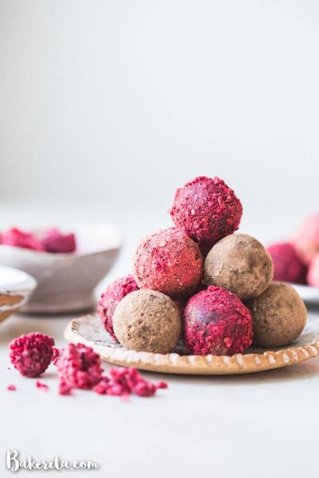 Easy Vegan Chocolate Truffles: made with only FOUR ingredients and they're paleo-friendly with a nut-free option! This simple truffle recipe is the perfect homemade holiday gift.