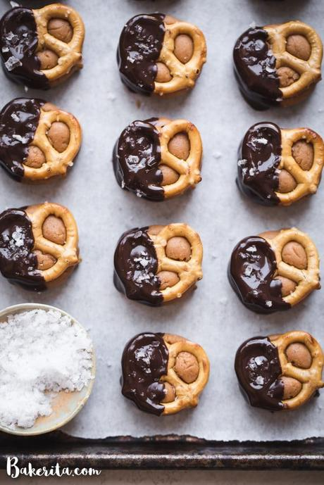 Made with grain-free pretzels and dunk in dark chocolate, these Grain-Free Peanut Butter Pretzel Bites are the perfect easy snack or dessert made with just five ingredients!
