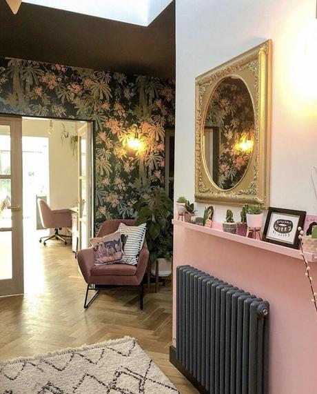 Pink and black hallway with black Windsor radiator by BestHeating