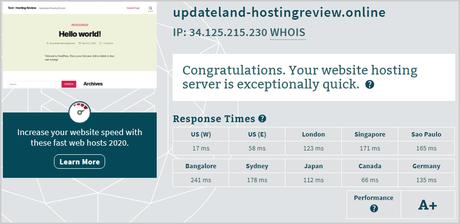 Kinsta Server Response Time Test Result