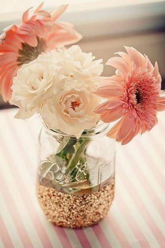 mason jars wedding centerpieces with gold glitter lauren armstrong photography
