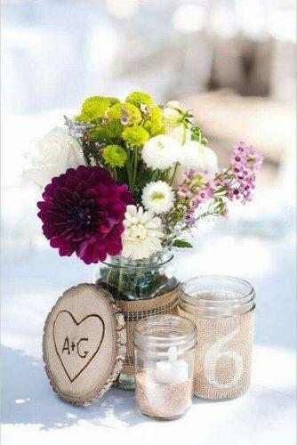 mason jars wedding centerpieces with winldflowers and burlap candice benjamin photography