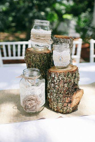 mason jars wedding centerpieces rustic with burlap and lace jennifer martin photography