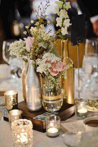 mason jars wedding centerpieces glittered gold bottles with flowers ginger robinson