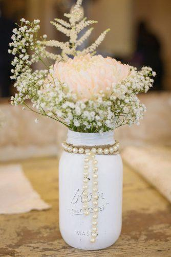 mason jars wedding centerpieces vintage white with pink roses baby brath and pearls kennedyblueofficial