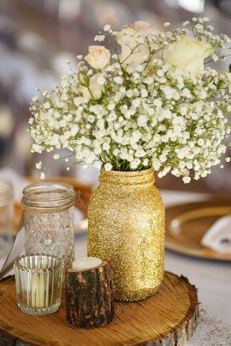 mason jars wedding in a golden jar tender roses and baby breath fowler studios
