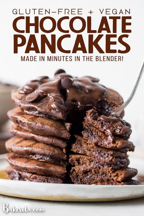 These Gluten-Free Vegan Double Chocolate Pancakes are a deliciously fluffy and decadent breakfast! Made with rolled oats and loaded with chocolate chips.