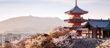 Sunset-at-Kiyomizu-dera-Temple-and-cherry-blossom-season-Kyoto-Japan-Asia - destinations we can't wait to visit