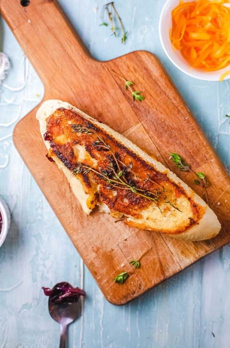 Garlic Bread Grilled Cheese with French Onions