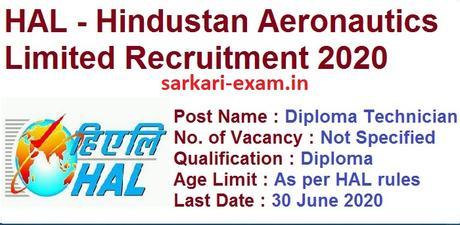 HAL Diploma Technician Recruitment 2020 – Diploma Technician Vacancy – Last Date 30 June