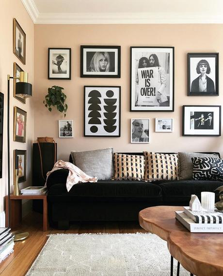 Pale pink and black living room decor inspiration