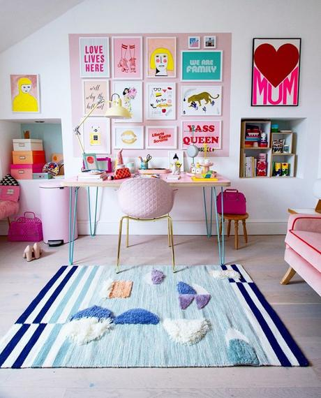 Quirky, pastel pink home office