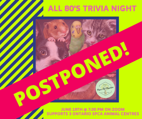 POSTPONED: OSPCA All 80's Trivia Night due to aMEOWzing weather