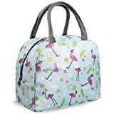 Image: Lunch Bags for Women Insulated Lunch Bag Adult Lunch Bags Women Lunch Box Jeopace(Green Flamingo Small)