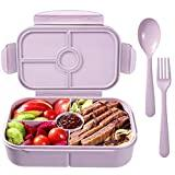 Image: Bento Box for Kids Lunch Containers with 4 Compartments Kids Bento Lunch Box Microwave/Freezer/Dishwasher Safe (Flatware Included, Light Purple)