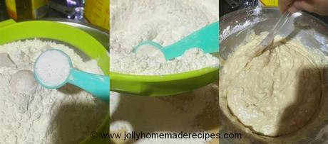 mix of dry into wet ingredients