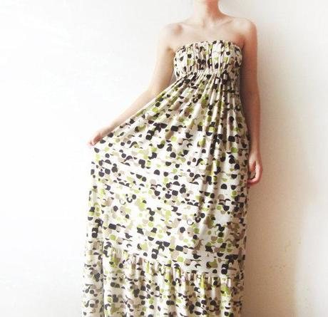 Geometric Circles, Strapless Jersey Long Dress - summer dress, printed dress, colorful sundress, summer dress - for her - fit XS to M