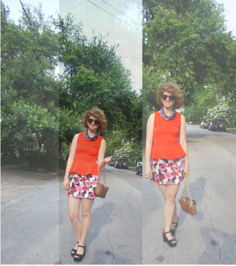 Outfit: colors galore, plus florals and peplum