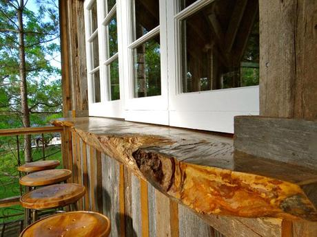 tree countertop, stools, treehouse windows