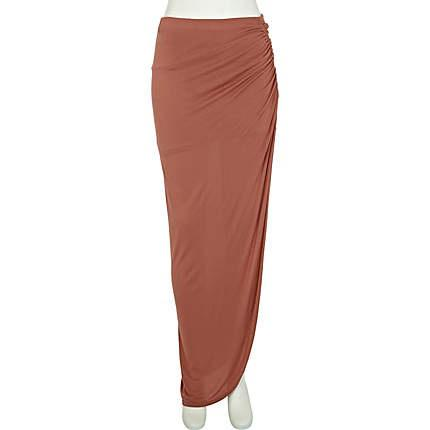 coral split ruched side maxi skirt - maxi skirts - skirts - women - River Island