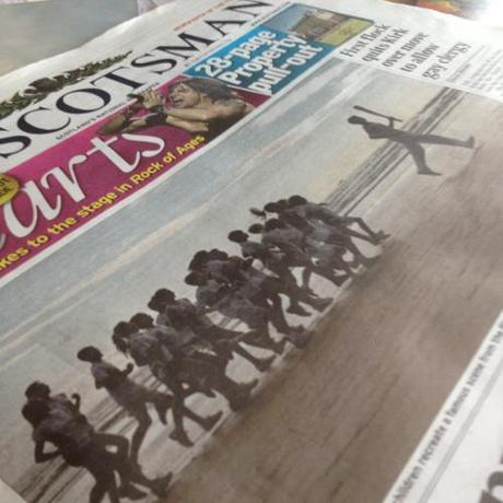 Scotsman front cover, Chariots of fire run across West Sands, St Andrews with the Olympic Torch