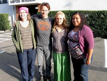 Lucky Truebie has lunch with Anna Paquin and Stephen Moyer on the True Blood set